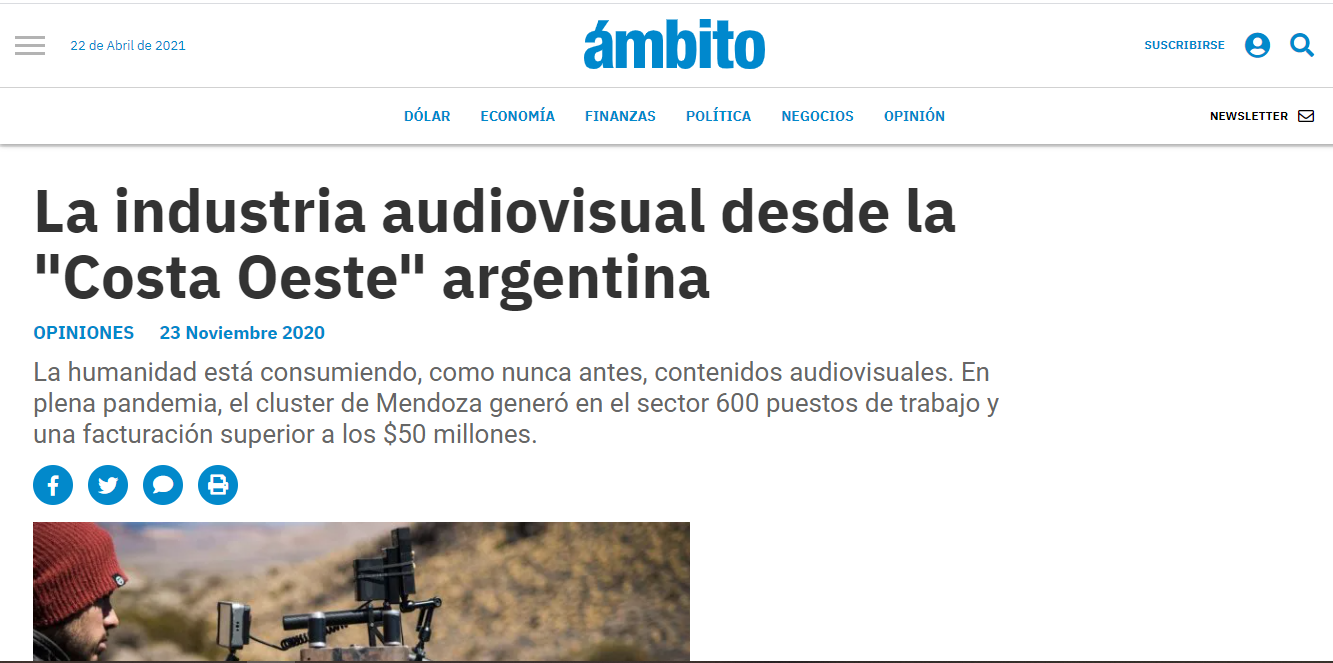 La industria audiovisual desde la «Costa Oeste» argentina