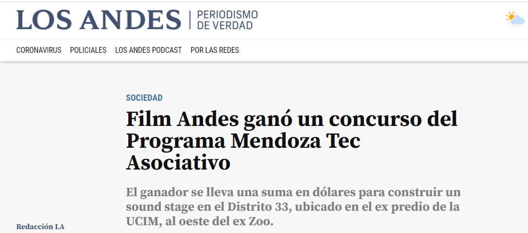 Film Andes ganó un concurso del Programa Mendoza Tec Asociativo