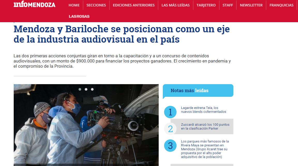 Mendoza y Bariloche se posicionan como un eje de la industria audiovisual en el país