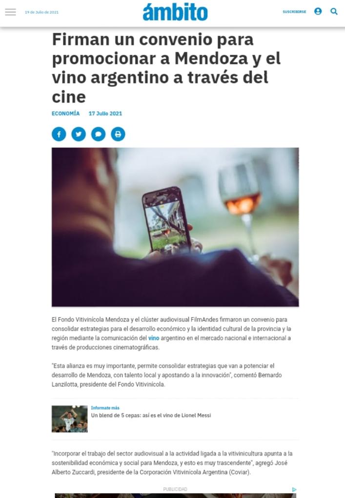 Firman un convenio para promocionar a Mendoza y el vino argentino a través del cine